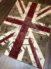 Modern Rugs Approx 8x5ft 160cmx230cm Woven Backed Retro Union Jack Beige/Red NEW